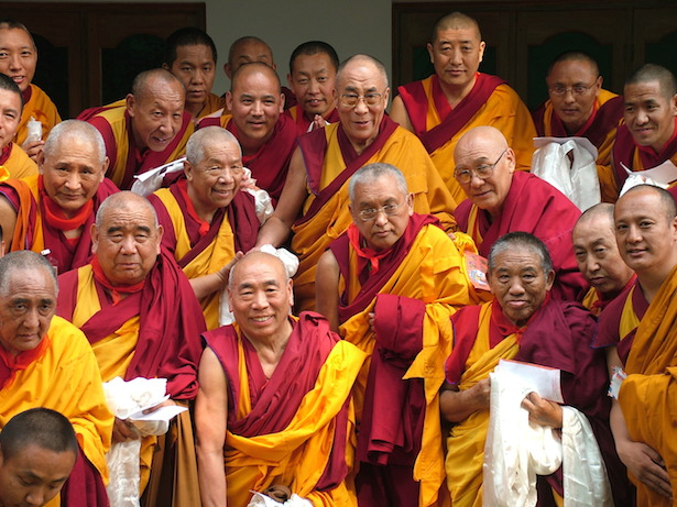 His Holiness with FPMT Geshes